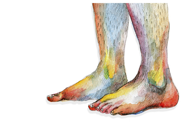 Rainbow feet drawing