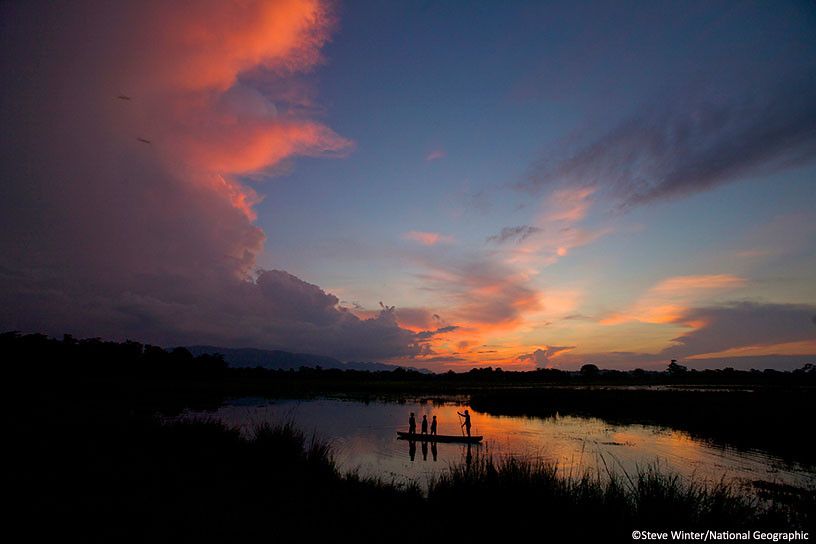 Kaziranga National Park at sunset