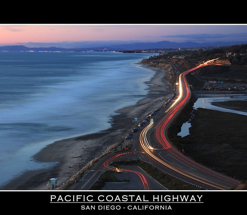 ocean road longexposure sunset beach waves sandiego lighttrails coastalhighway cartrails torreypinesstatebeach canonefs18200mm canonrebelt2i