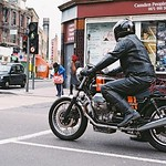 Motorcyle at junction in London