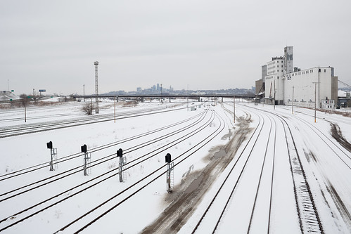 Railroad Tracks, Grain Elevator, Skyline