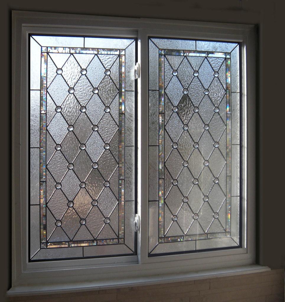 Diamond & Beveled Stained Glass Bathroom Windows | Flickr ...