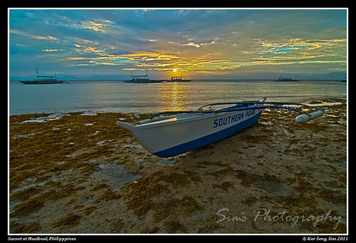 sunset sea beach boat philippines cebu ph moalboal