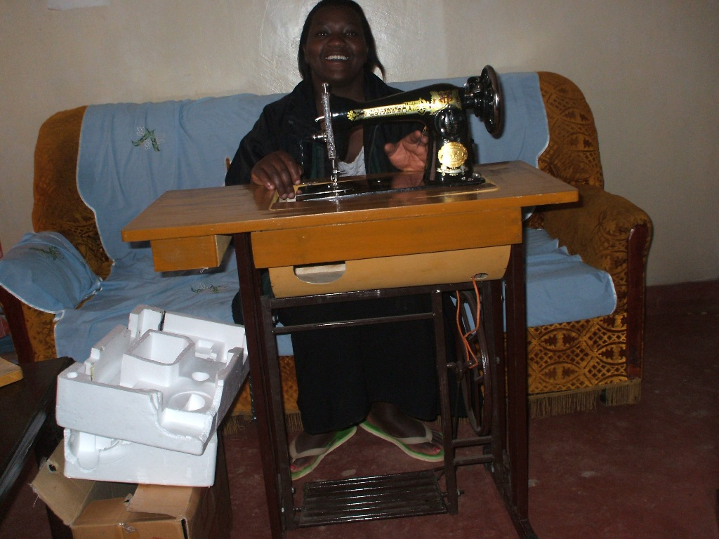 Pr Sarah with her new sewing machine