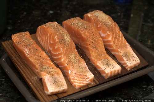 before grill: cedar plank salmon
