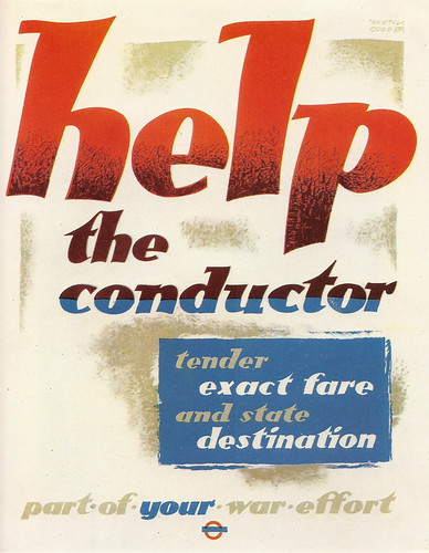 """Help the conductor"" - London Transport poster by Austin Cooper, 1942 by mikeyashworth"