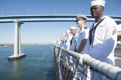 Sailors aboard USNS Mercy (T-AH 19) man the rails as the hospital ship returns to San Diego, Sept. 30.  (U.S. Navy/PO2 Lindsey E. Skelton)