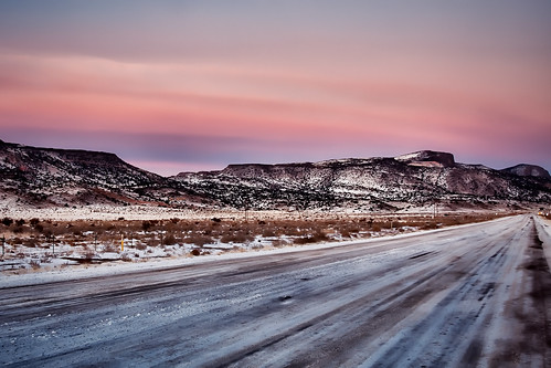 road winter sunset sky snow mountains newmexico field clouds landscape mesa