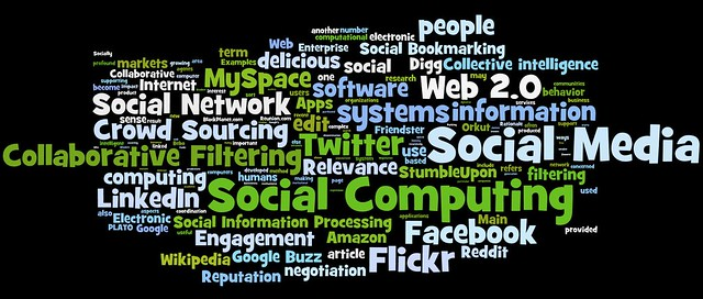 social media, social networking, social computing tag cloud