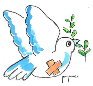 Paloma de la paz herida