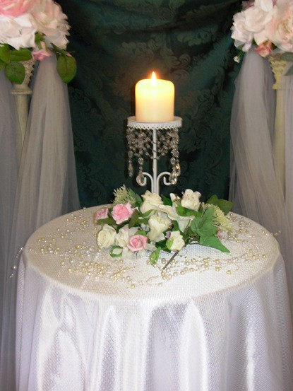 Unity candle table Crystals satin tulle pearls flowers wedding unity candle