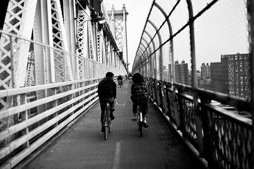 bikers. manhattan bridge