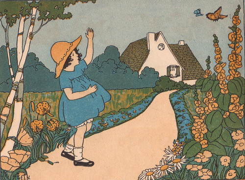 Alice liked to play in the garden by the big white house