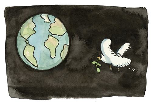 pigeon-leaf-globe illustration