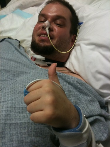 24 Jan 2011 - 11:57 - Jeff, still with the NG (nasogastric) tube and tracheostomy still in place.