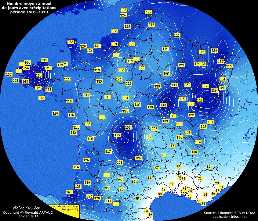 nombre moyen annuel de jours avec pr�cipitations en France pour la p�riode 1981-2010