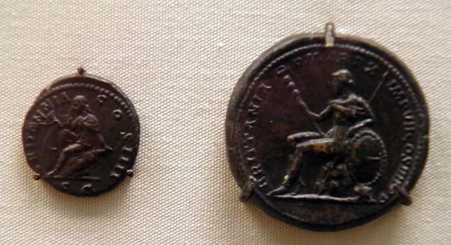 As of Antoninus Pius and Medallion of Commodus, Roman Britain, British Museum