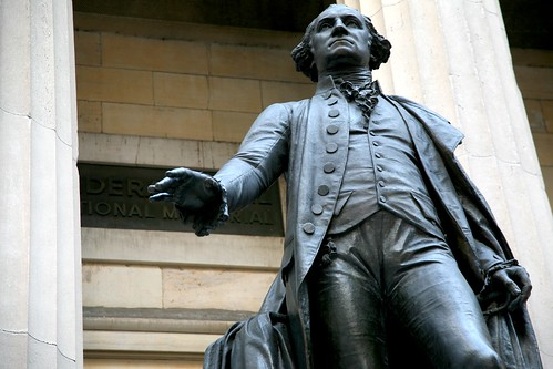 New York City, Lower Manhattan, Financial District, 26 Wall Street : Federal Hall National Memorial, J.Q.A. Ward's 1882 statue of George Washington