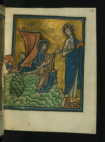 Illuminated Manuscript, Bible Pictures by William de Brailes, Christ Appears at Lake Tiberias, Walters Art Museum Ms. W.106, fol. 20r
