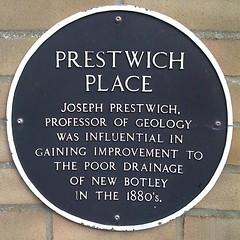 Photo of Joseph Prestwich black plaque