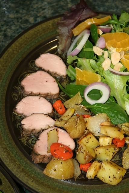 Slow-roasted Pork Tenderloin, Root Vegetables, Orange Side Salad ...