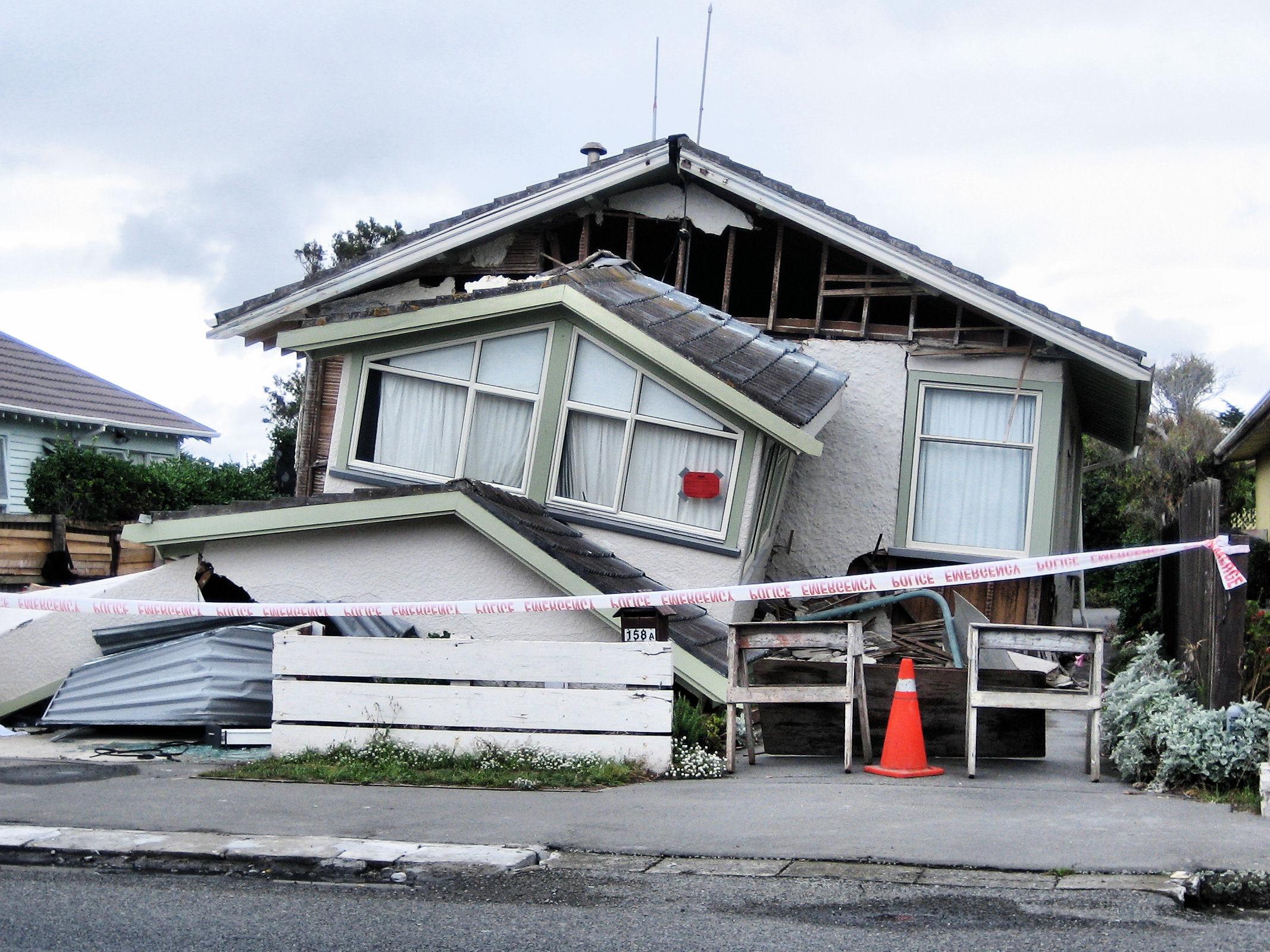 A badly damaged house in North New Brighton, Christchurch following Feb 22 quake