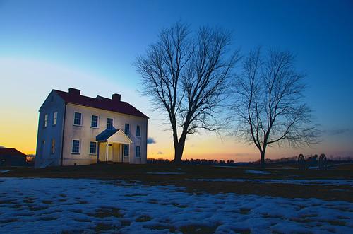 blue sunset sky snow building grass yellow outdoors nikon dusk farm flash maryland historic mansion hdr 18200vr strobist bestfarm d7000