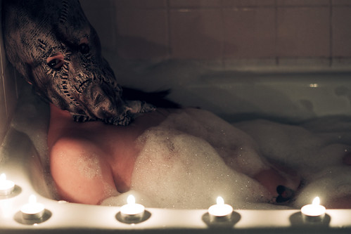 Scarecrow takes a relaxing bath.