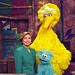 Photograph of First Lady Hillary Rodham Clinton Posing on the Big Bird Nest Set with Big Bird... by The U.S. National Archives