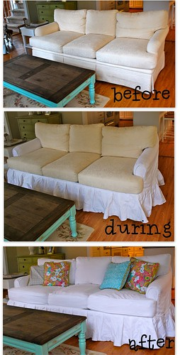 white sofa slipcover before and after