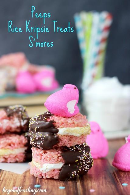 Peeps Rice Krispie Treat S'mores | beyondfrosting.com | #peeps #smores #ricekrispietreat