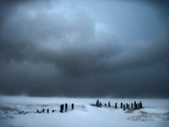 Chicago Blizzard 2011, storm clouds over Lake Michigan