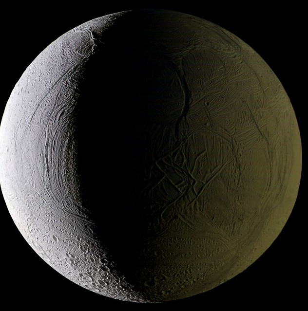 Enceladus: in Sol-shine and Saturn-shine (Feb 2011)