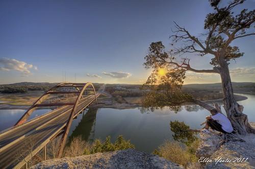 bridge winter sunset vacation sky sun lake man reflection tree water look canon austin ellen texas tour mark iii 360 sit overlook 1ds hdr yeates pennybacker photomatix