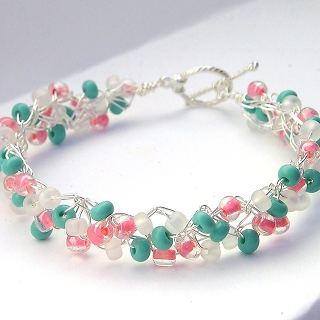Bead Crochet : Crochet Wire Beaded Bracelet Coral Turquoise Flickr - Photo Sharing!