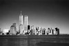 World Trade Center Buildings As Viewed From New Jersey - Black & White by hogophotoNY