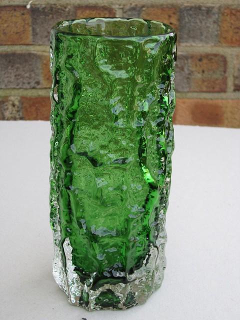 Whitefriars Glass Green Bark Vase 1970's Mid Century Modern Art Glass Geoffrey Baxter Design