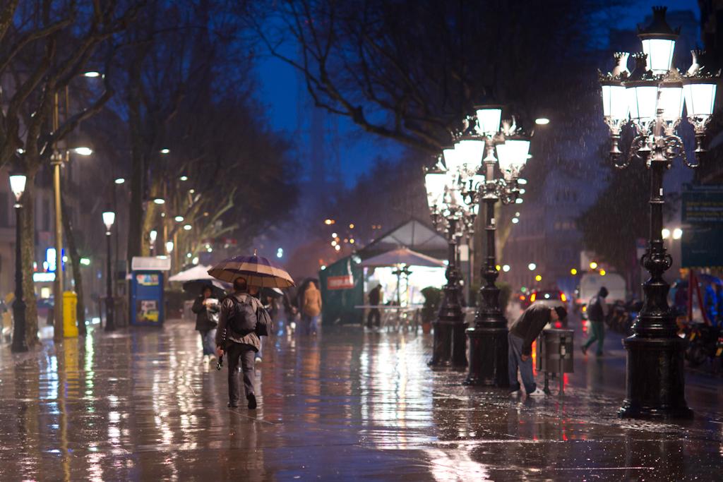 La Rambla In The Rain - 2