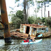 Grounded Houseboat, Through Truss Railroad Bridge, San Jacinto River, Crosby, Texas 0312111348