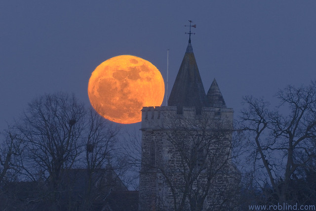 Moon rise behind Warfield Church Landscape 19th March 2011