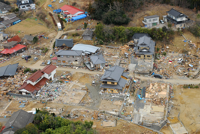 Aerial view of Oshima-Mura, Japan, 11 days after the earthquake.