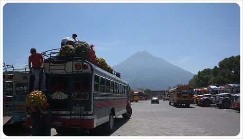 Bus station & volcano in Antigua Guatemala
