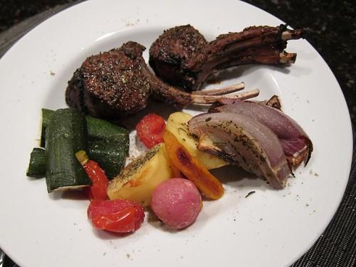 lamb chops, roasted, vegetables, vege IMG_4858