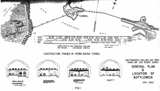 Construction Phases in Yerba Buena Tunnel / General Plan & Location of Bottleneck (1963)