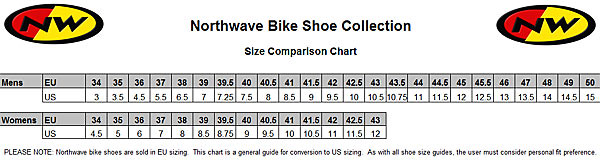 Northwave Shoe Size Chart