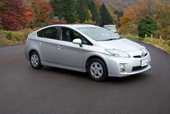 automobile(1.0), toyota(1.0), vehicle(1.0), bumper(1.0), toyota prius(1.0), land vehicle(1.0), hatchback(1.0),
