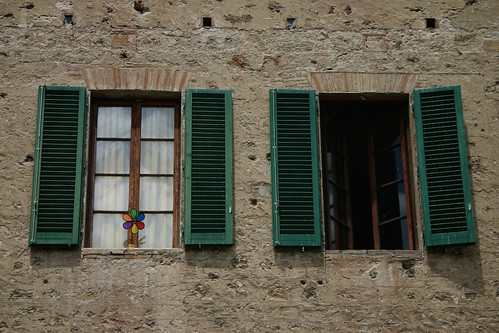 Windows in Colle di val d'Elsa, Tuscany, Italy