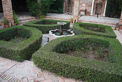courtyard, shrub, garden, yard, landscaping, hedge, walkway,