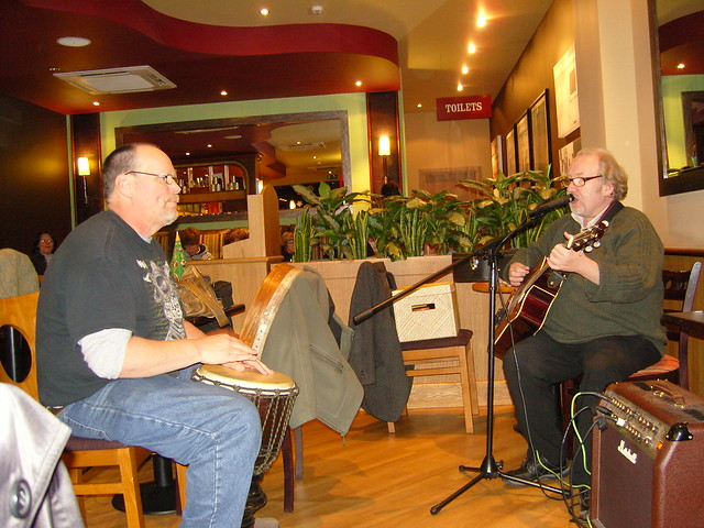 GGM outreach in Costa Coffee, Mike and Francis lead worship