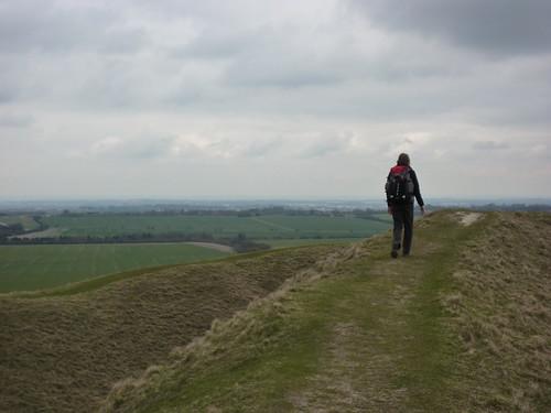 Walking the ramparts of Barbury Castle
